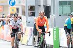 Polish Champion Michal Kwiatkowski (POL) Team Ineos and Alessandro De Marchi (ITA) CCC Team cross the finish line at the end of Stage 2 of the Criterium du Dauphine 2019, running 180km from Mauriac to Craponne-sur-Arzon, France. 9th June 2019<br /> Picture: Colin Flockton | Cyclefile<br /> All photos usage must carry mandatory copyright credit (© Cyclefile | Colin Flockton)