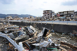April 2nd, 2011, Ofunato, Japan - A stream is awash with debris in Ofunato City, Iwate Prefecture, on April 2, 2011, three weeks after this northeastern Japanese fishing port nestled deep inside an inlet was destroyed by a magnitude 9.0 earthquake and ensuing tsunami. (Photo by Natsuki Sakai/AFLO) [3615] -mis-...