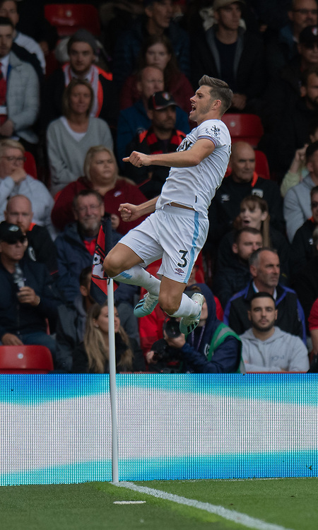 West Ham United's Aaron Cresswell celebrates scoring his side's second goal <br /> <br /> Photographer David Horton/CameraSport<br /> <br /> The Premier League - Bournemouth v West Ham United - Saturday 28th September 2019 - Vitality Stadium - Bournemouth<br /> <br /> World Copyright © 2019 CameraSport. All rights reserved. 43 Linden Ave. Countesthorpe. Leicester. England. LE8 5PG - Tel: +44 (0) 116 277 4147 - admin@camerasport.com - www.camerasport.com