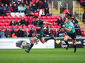 4th November 2017, Welford Road, Leicester, England; Anglo-Welsh Cup, Leicester Tigers versus Gloucester;  Joe Ford (c) (Leicester Tigers) kicks for position