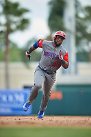 Dominican Republican right fielder Mel Rojas Jr. (48) running the bases runs the bases during a Spring Training exhibition game against the Baltimore Orioles on March 7, 2017 at Ed Smith Stadium in Sarasota, Florida.  Baltimore defeated the Dominican Republic 5-4.  (Mike Janes/Four Seam Images)