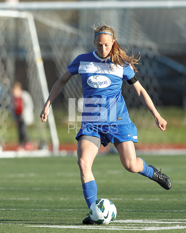 Boston Breakers defender Julie King (8) passes the ball.  In a National Women's Soccer League Elite (NWSL) match, the Boston Breakers (blue) defeated Chicago Red Stars (white), 4-1, at Dilboy Stadium on May 4, 2013.