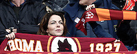 Italian actress Claudia Gerini shows her Roma's scarf on the stand for the Italian Serie A football match between Roma and Napoli at Rome's Olympic stadium, 4 March 2017. <br /> UPDATE IMAGES PRESS/Isabella Bonotto