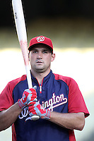Washington Nationals third baseman Ryan Zimmerman #11 before a game against the Los Angeles Dodgers at Dodger Stadium on July 23, 2011 in Los Angeles,California. Los Angeles defeated Washington 7-6.(Larry Goren/Four Seam Images)