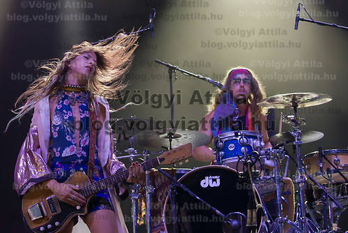 Vocalist Cato van Dijck (L), her brother drummer Joost van Dijck (R) perform with their Dutch-New Zealand band My Baby at their concert on the A38 Stage at Sziget Festival held in Budapest, Hungary on Aug. 13, 2018. ATTILA VOLGYI
