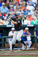 Miami Hurricanes third baseman David Thompson (8) at bat against the Florida Gators in the NCAA College World Series on June 13, 2015 at TD Ameritrade Park in Omaha, Nebraska. Florida defeated Miami 15-3. (Andrew Woolley/Four Seam Images)