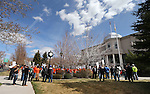 About 200 people attend a pro-labor rally held to protest a bill that would change the use of prevailing wages in Nevada, in front of the Legislative Building  in Carson City, Nev., on Wednesday, March 27, 2013. .Photo by Cathleen Allison