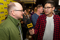 """AUSTIN, TX- MARCH 8: Mark Proksch is interviewed by Ian de Borja with IMBD as he attends the SXSW world premiere of FX's """"What We Do in the Shadows"""" at the Paramount Theater on March 8, 2019 in Austin, Texas. (Photo by Stephen Spillman/FX/PictureGroup)"""