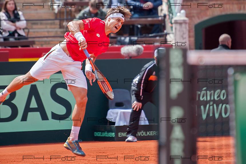 VALENCIA, SPAIN - 06/04/2018. Copa Davis 2018, Espa&ntilde;a vs Alemania, Plaza de Toros de Valencia, Spain.<br /> <br /> David Ferrer.