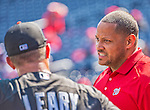 1 April 2013: Washington Nationals Director of Team Travel Rob McDonald chats with players prior to the Opening Day Game against the Miami Marlins at Nationals Park in Washington, DC. The Nationals shut out the Marlins 2-0 to launch the 2013 season. Mandatory Credit: Ed Wolfstein Photo *** RAW (NEF) Image File Available ***