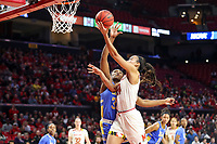 College Park, MD - March 25, 2019: Maryland Terrapins forward Stephanie Jones (24) goes for a layup during game between UCLA and Maryland at  Xfinity Center in College Park, MD.  (Photo by Elliott Brown/Media Images International)