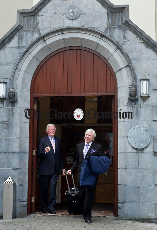 Francis Brennan from RTE's At Your Service with John Madden, hotel director, on a recent visit to the new look Temple Gate Hotel in Ennis. Photograph by Declan Monaghan