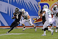 20 December 2011:  FIU wide receiver T.Y. Hilton (4) returns a kick in the first quarter as the Marshall University Thundering Herd defeated the FIU Golden Panthers, 20-10, to win the Beef 'O'Brady's St. Petersburg Bowl at Tropicana Field in St. Petersburg, Florida.