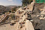 Jerusalem, Israel, the City of David, ruins of a large public building of the 10th century B.C., identified as King David's palace by archeologist Eilat Mazar<br />