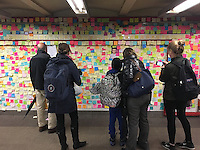 NEW YORK, NY - NOVEMBER 15:  New Yorkers and others use the 'Subway Therapy' art project at the Union Square subway station to voice their views about the election and its possible effect on their lives by writing out their thoughts on sticky notes and posting them on the station wall  in New York, New York on November 15, 2016.  Photo Credit: Rainmaker Photo/MediaPunch