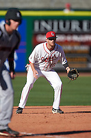 Ball State Cardinals third baseman Sean Kennedy (10) during a game against the Louisville Cardinals on February 19, 2017 at Spectrum Field in Clearwater, Florida.  Louisville defeated Ball State 10-4.  (Mike Janes/Four Seam Images)