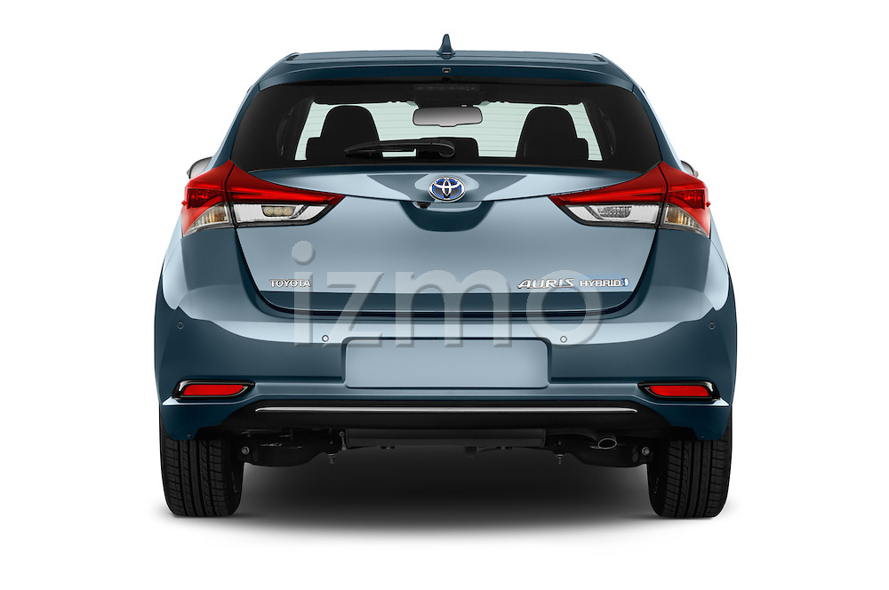Straight rear view of 2015 Toyota Auris Lounge 5 Door Hatchback Rear View  stock images