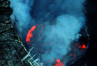 Aerial view looking directly into the lava lake inside Pu'u O'o Crater, Kilauea, Hawaii.