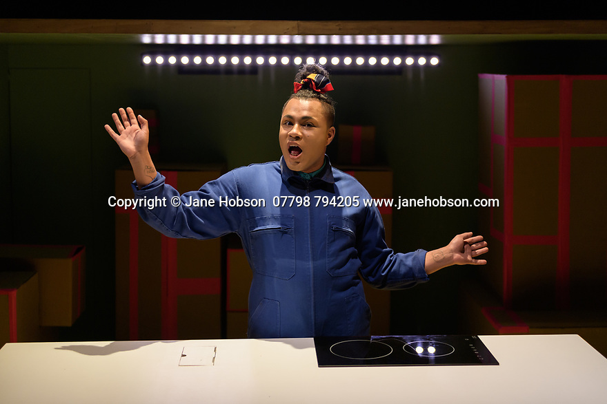 Edinburgh, UK. 31.07.2019. BURGERZ by Travis Alabanza, opens at the Traverse Theatre, as part of the Edinburgh Festival Fringe. The director is Sam Curtis Lindsay, with design by Soutra Gilmour, sound design by XANA, and lighting design by Lee Currand and Lauren Woodhead. Performed by: Travis Alabanza. Photograph © Jane Hobson.