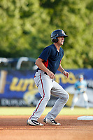 Potomac Nationals designated hitter Ian Sagdal (1) on the bases during a game against the Myrtle Beach Pelicans at Ticketreturn.com Field at Pelicans Ballpark on July 19, 2018 in Myrtle Beach, South Carolina. Potomac defeated Myrtle Beach 6-3. (Robert Gurganus/Four Seam Images)