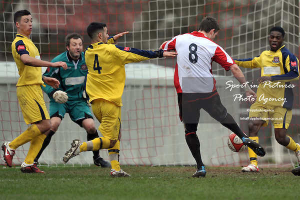 Frankie Curley (Hornchurch, 8) has a shot, but it was saved. AFC Hornchurch Vs Croydon Athletic. Ryman Premier League. The Stadium. Essex. 05/03/2011. MANDATORY CREDIT Sportinpictures/Garry Bowden