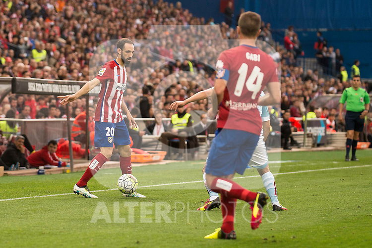 Atletico de Madrid's Juanfran and Gabi during La Liga Match at Vicente Calderon Stadium in Madrid. May 14, 2016. (ALTERPHOTOS/BorjaB.Hojas)