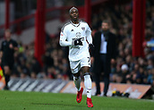 2nd December 2017, Griffen Park, Brentford, London; EFL Championship football, Brentford versus Fulham; Neeskens Kebano of Fulham watches as the play goes long up the wing