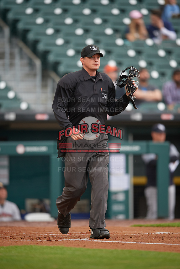 Umpire Ryan Wills during an International League game between the Scranton/Wilkes-Barre RailRiders and Buffalo Bisons on June 5, 2019 at Sahlen Field in Buffalo, New York.  Scranton defeated Buffalo 3-0, the first game of a doubleheader.  (Mike Janes/Four Seam Images)