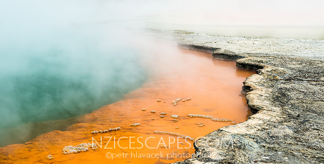 Champagne Pool in Wai-O-Tapu Thermal Wonderland, Rotorua Region, Central Plateau, North Island, New Zealand, NZ
