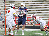 College Park, MD - May 13, 2018: Robert Morris Colonials Shane Majewski (7) scores a goal during the NCAA first round game between Robert Morris and Maryland at  Capital One Field at Maryland Stadium in College Park, MD.  (Photo by Elliott Brown/Media Images International)
