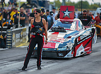 Sep 2, 2018; Clermont, IN, USA; Leah Pritchett lines up husband NHRA top alcohol funny car driver Gary Pritchett during qualifying for the US Nationals at Lucas Oil Raceway. Mandatory Credit: Mark J. Rebilas-USA TODAY Sports