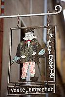 La Fringale, Restaurant?s sign, typical of Le Mont Saint Michel, Manche, Basse Normandie, France. Picture by Manuel Cohen