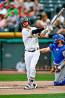 Brendan Ryan (13) of the Salt Lake Bees at bat against the Round Rock Express in Pacific Coast League action at Smith's Ballpark on August 15, 2016 in Salt Lake City, Utah. Round Rock defeated Salt Lake 5-4.  (Stephen Smith/Four Seam Images)