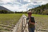 A Wakhi man doing irrigation work in the Wakhan Corridor, near the town of Khandud. Driving up from Ishkashim town to Sarhad village, the end of the road in the Wakhan corridor, Afghanistan.