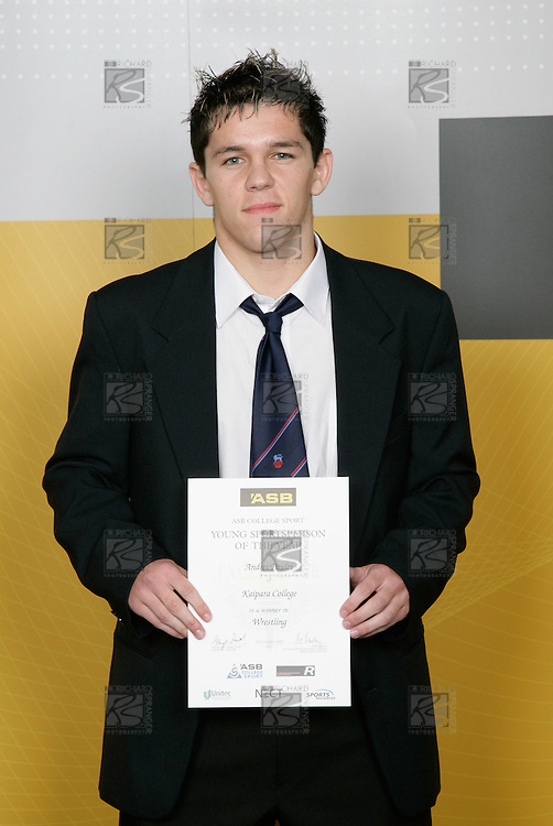 Wrestling Boys Winner - Andrei Paulet. ASB College Sport Young Sportsperson of the Year Awards 2006, held at Eden Park on Thursday 16th of November 2006.<br />