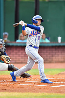 Kingsport Mets right fielder Scott Ota (11) swings at a pitch during a game against the Elizabethton Twins at Joe O'Brien Field on July 6, 2019 in Elizabethton, Tennessee. The Twins defeated the Mets 5-3. (Tony Farlow/Four Seam Images)