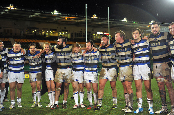 The Bath United team line up after the match. Aviva A-League final, between Northampton Wanderers and Bath United on December 16, 2013 at Franklin's Gardens in Northampton, England. Photo by: Patrick Khachfe / Onside Images