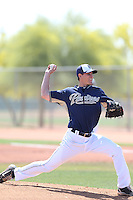 Devin Jones #74 of the San Diego Padres pitches during a Minor League Spring Training Game against the Kansas City Royals at the Kansas City Royals Spring Training Complex on March 26, 2014 in Surprise, Arizona. (Larry Goren/Four Seam Images)