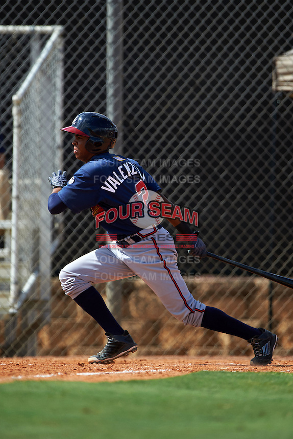 Atlanta Braves Luis Valenzuela (2) during an instructional league game against the Houston Astros on October 1, 2015 at the Osceola County Complex in Kissimmee, Florida.  (Mike Janes/Four Seam Images)
