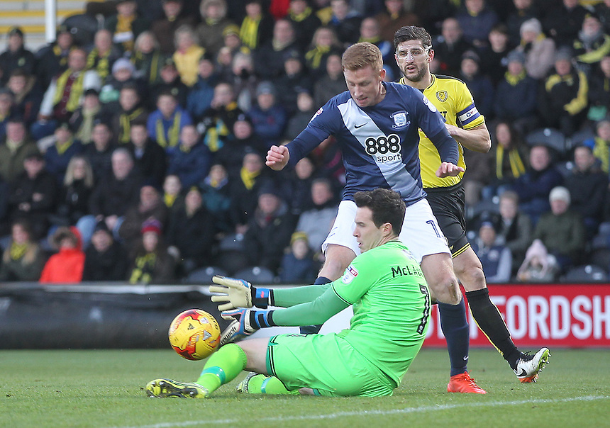 Preston North End's Eoin Doyle brings a save from Burton Albion's Jon McLaughlin<br /> <br /> Photographer Mick Walker/CameraSport<br /> <br /> The EFL Sky Bet Championship - Burton Albion v Preston North End - Monday 2nd January 2017 - Pirelli Stadium - Burton upon Trent<br /> <br /> World Copyright &copy; 2017 CameraSport. All rights reserved. 43 Linden Ave. Countesthorpe. Leicester. England. LE8 5PG - Tel: +44 (0) 116 277 4147 - admin@camerasport.com - www.camerasport.com