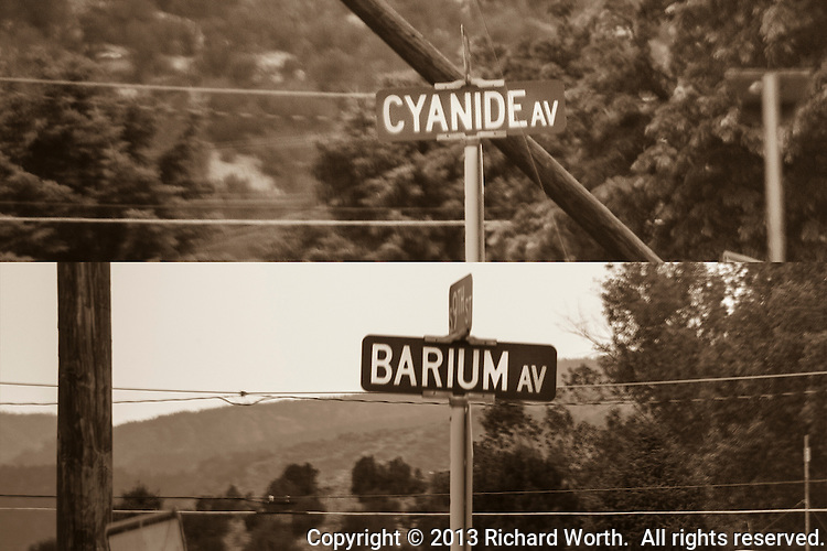 """At the corner of 9th and Elm is an entrance to a cemetery.  The two streets before Elm are Cyanide and Barium, presumably a variant of """"bury 'em"""".  Canon City, Colorado."""