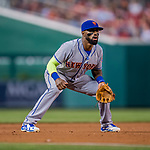 28 April 2017: New York Mets infielder Jose Reyes in action against the Washington Nationals at Nationals Park in Washington, DC. The Mets defeated the Nationals 7-5 to take the first game of their 3-game weekend series. Mandatory Credit: Ed Wolfstein Photo *** RAW (NEF) Image File Available ***