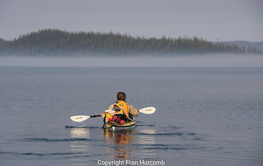 Kayaker on East Arm of Great Slave lake