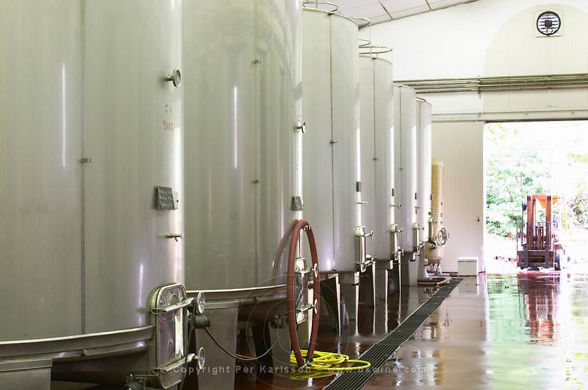 Fermentation tanks. Chateau Liversan, Domaines Lapalu, Haut Medoc, Bordeaux, France