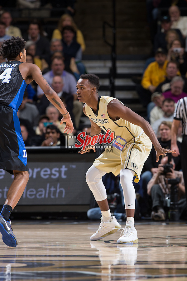 Greg McClinton (11) of the Wake Forest Demon Deacons guards Brandon Ingram (14) of the Duke Blue Devils during first half action at the LJVM Coliseum on January 6, 2016 in Winston-Salem, North Carolina.  The Blue Devils defeated the Demon Deacons 91-75.  (Brian Westerholt/Sports On Film)
