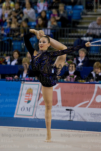 Daria Kondakova (RUS) performs with the hoop during the final of the 2nd Garantiqa Rythmic Gymnastics World Cup held in Debrecen, Hungary. Sunday, 07. March 2010. ATTILA VOLGYI