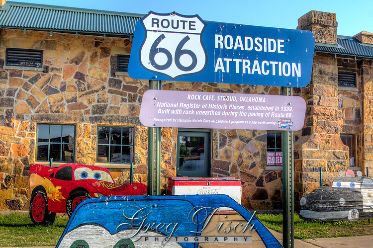"The Rock Cafe in Stroud Oklahoma on Route 66. Originally opened in 1939 by Roy Rives, and still in operation today, and a landmark on Route 66. Current owner Dawn Welch served as inspiration for the Character of ""Sally Carrera"" in the animated movie ""Cars""."