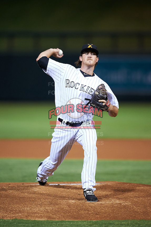 Salt River Rafters pitcher Zach Jemiola (77), of the Colorado Rockies organization, during a game against the Peoria Javelinas on October 11, 2016 at Salt River Fields at Talking Stick in Scottsdale, Arizona.  The game ended in a 7-7 tie after eleven innings.  (Mike Janes/Four Seam Images)