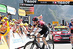 "Geraint Thomas (WAL) Team Ineos loses 30"" to the race leader as he finishes 8th ahead of French Champion Warren Barguil (FRA) Arkéa Samsic 9th place cross the finish line atop the Col du Tourmalet at the end of Stage 14 of the 2019 Tour de France running 117.5km from Tarbes to Tourmalet Bareges, France. 20th July 2019.<br /> Picture: Colin Flockton 