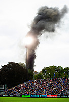 Black smoke rises after a van catches fire outside the ground. Gallagher Premiership match, between Bath Rugby and Gloucester Rugby on September 8, 2018 at the Recreation Ground in Bath, England. Photo by: Patrick Khachfe / Onside Images